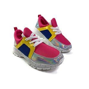Krazy Kicks Girls Pink Lace Up Sneakers sz 3 New
